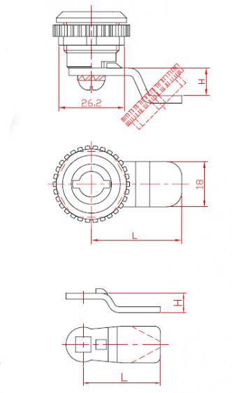 Türschloss für Metallschränke, eingängig, mit rotierendem Einsatz aus Metall