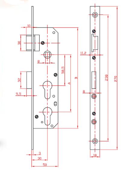 """Eingebautes Türschloss mit Öffnungen für Sicherheitsschloss """"Double"""" in Y"""